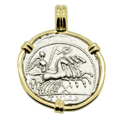 119 BC, Victory Chariot denarius coin in gold pendant