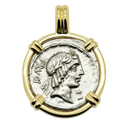 Roman 61 BC, Apollo coin in gold pendant.