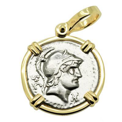 Roman 76 BC, Mars coin in gold pendant