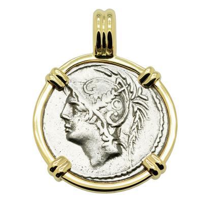 Roman 103 BC, Mars denarius coin in gold pendant.