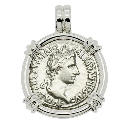 Roman Caesar Augustus coin in white gold pendant