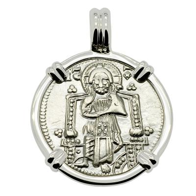 1289-1311, Jesus Christ grosso in white gold pendant