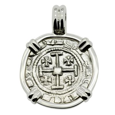 Cyprus 1285-1324, Henry II Crusader coin white gold pendant