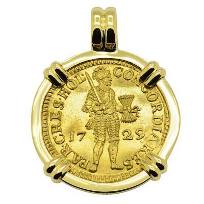 1729 Vliegenthart shipwreck ducat in 18k gold pendant