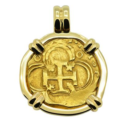 1621 Spanish Doubloon in gold pendant