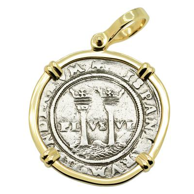 1548-1553, Spanish Johanna and Charles coin in gold pendant
