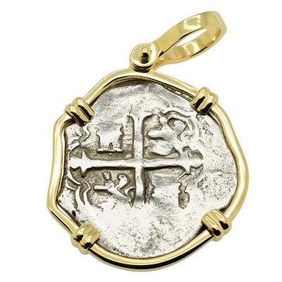 1610-1618, Philip III Spanish one real in gold pendant