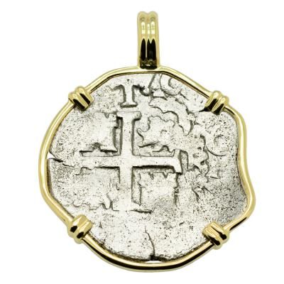 1690 Spanish 1 Real coin in gold pendant