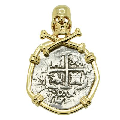 1699 Spanish 1 Real coin in gold pirate pendant