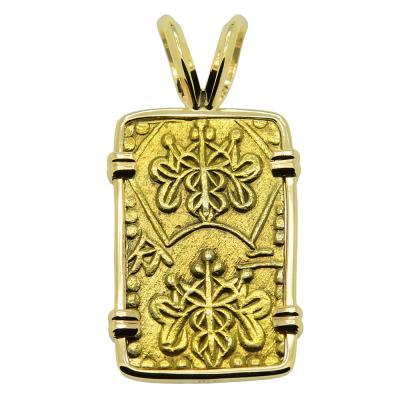 Japanese nibu-kin coin in gold pendant