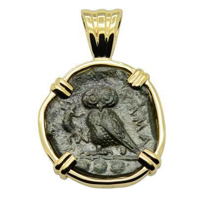 420-410 BC, Greek Owl tetras coin gold pendant