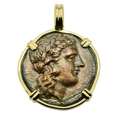 Akragas 287-279 BC, Zeus bronze coin in gold pendant