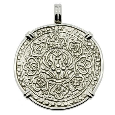 Tibetan Ga-Den Tanka in white gold pendant