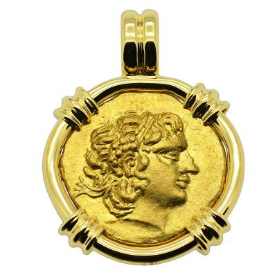 88-86 BC, Alexander the Great gold coin in 18k gold pendant