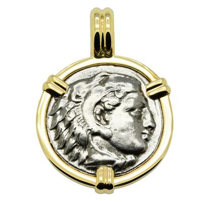 Lifetime Alexander the Great drachm in gold pendant