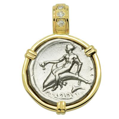 344-340 BC, Boy on Dolphin coin in gold pendant with diamonds