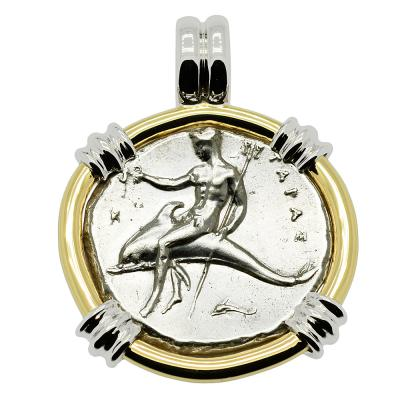 Boy on Dolphin coin in white and yellow gold pendant