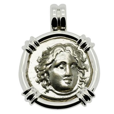305-275 BC, Helios didrachm coin in white gold pendant