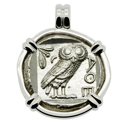 454-404 BC, Owl tetradrachm coin in white gold pendant