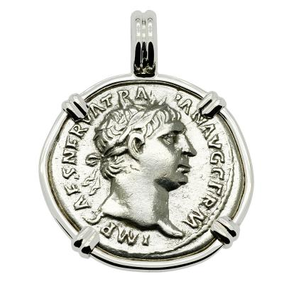AD 101-102, Trajan denarius coin in white gold pendant
