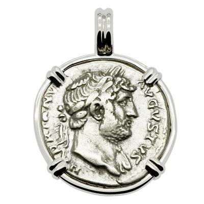 AD 125-128, Hadrian denarius coin in white gold pendant