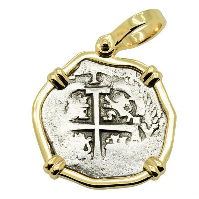 1683 Spanish 1 Real cob coin in gold pendant
