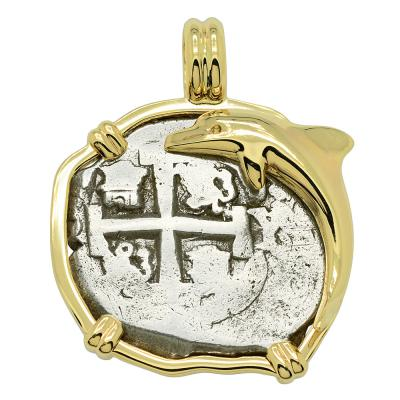 1709 Spanish 2 reales coin in gold dolphin pendant