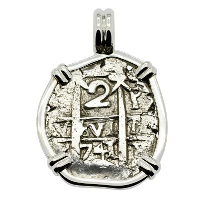 1741 Spanish 2 reales coin in white gold pendant