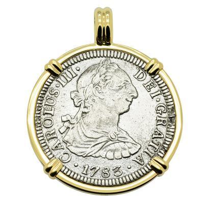 1783 El Cazador Shipwreck coin in gold pendant
