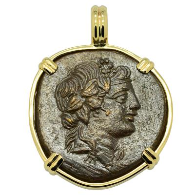 God of Wine Dionysus bronze coin in gold pendant