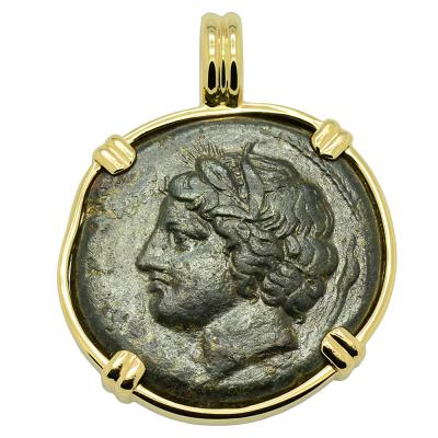 Syracuse 317-289 BC Persephone coin in gold pendant