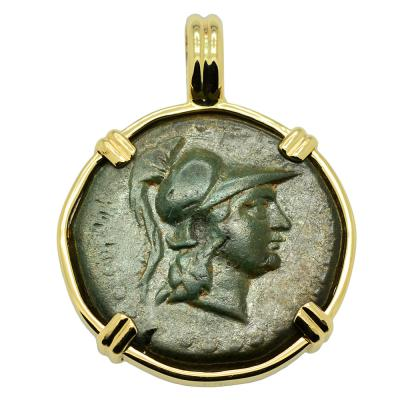 200 - 100 BC, Athena bronze coin in gold pendant