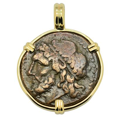 261-240 BC Poseidon Coin in gold pendant