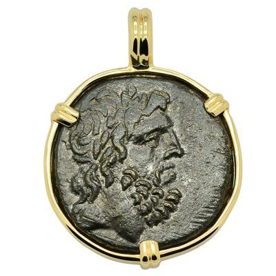 85-65 BC Zeus bronze coin in gold pendant