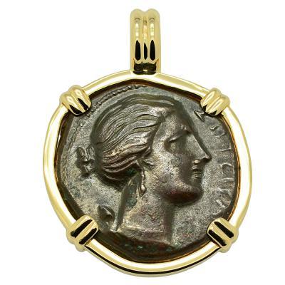 Syracuse 317-289 BC Artemis coin in gold pendant