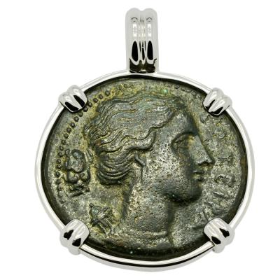 Syracuse 317-289 BC Artemis coin in white gold pendant
