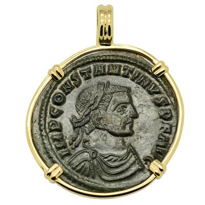Constantine the Great coin in gold pendant