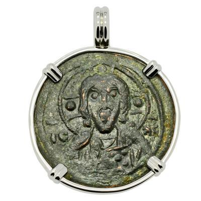 1078–1081 Jesus Christ bronze coin in white gold pendant