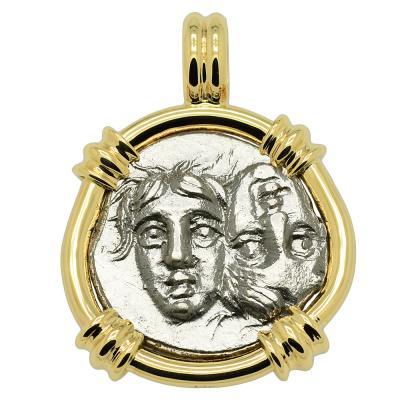 400-350 BC Gemini Twins coin in gold pendant