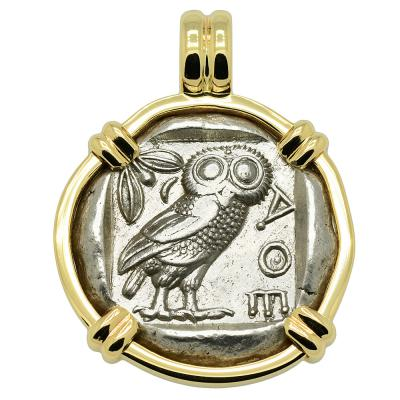 454-404 BC, Owl tetradrachm coin in gold pendant