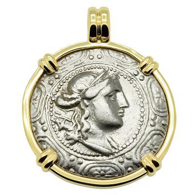 167-149 BC, Artemis tetradrachm in gold pendant