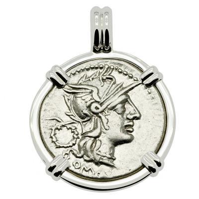 128 BC, Roma denarius coin in white gold pendant