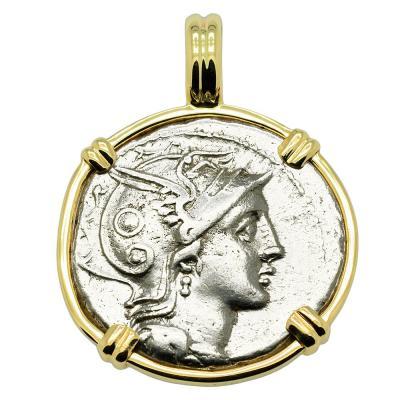 110-109 BC, Roma denarius coin in gold pendant