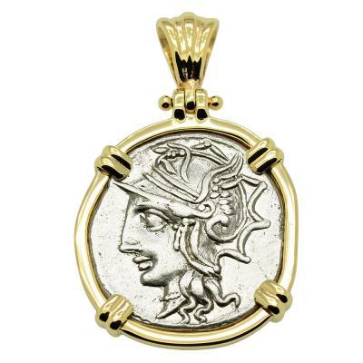 104 BC, Roma denarius coin in gold pendant