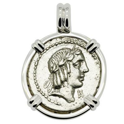 90 BC Apollo denarius coin in white gold pendant.