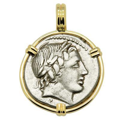 86 BC Apollo denarius coin in gold pendant.