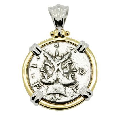 120 BC Janus coin in white and yellow gold pendant