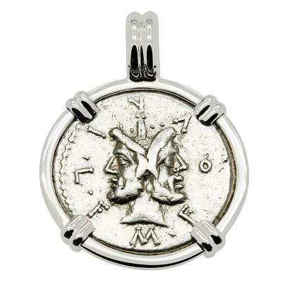 120 BC Janus coin in white gold pendant