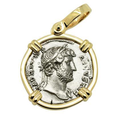 AD 124-128 Hadrian denarius coin in gold pendant