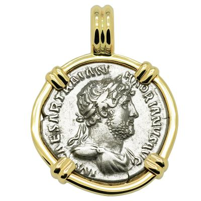AD 117-138 Hadrian denarius coin in gold pendant